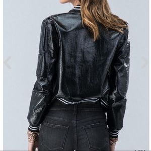 d2d864d01 BOMBER Jacket Black Teddy Style Shiny Leather Look Boutique